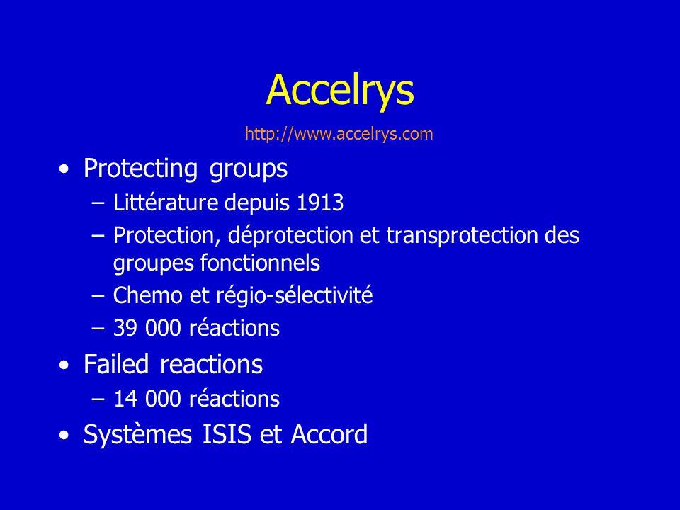 Accelrys Protecting groups –Littérature depuis 1913 –Protection, déprotection et transprotection des groupes fonctionnels –Chemo et régio-sélectivité
