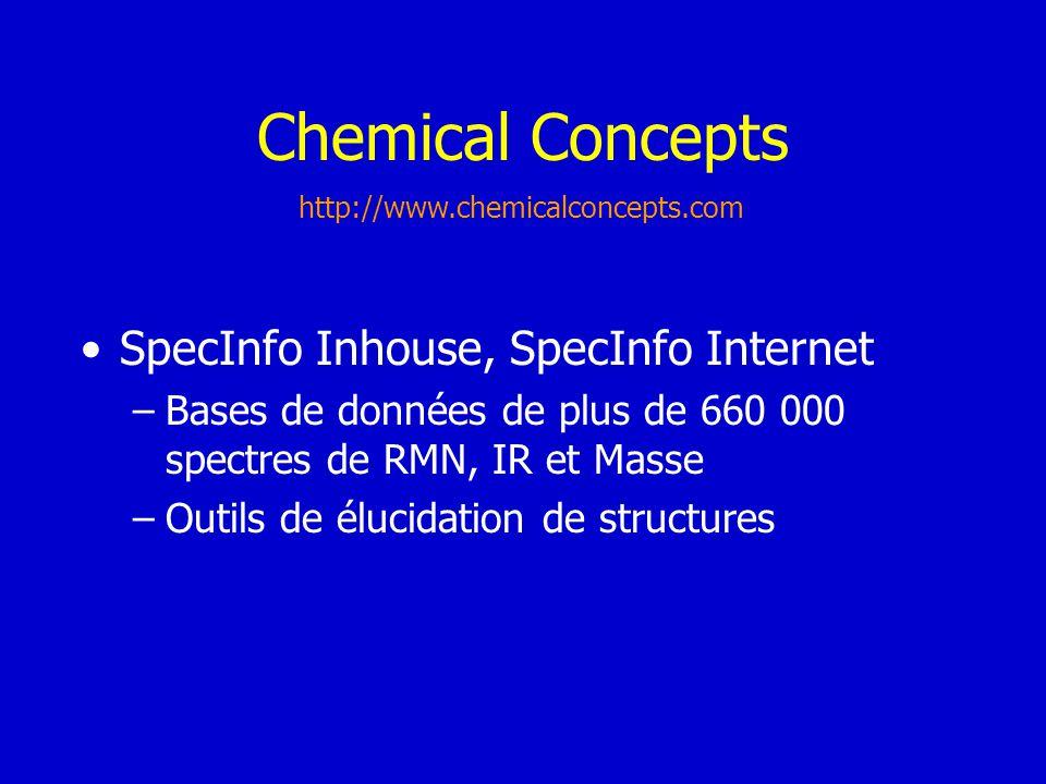 Chemical Concepts SpecInfo Inhouse, SpecInfo Internet –Bases de données de plus de 660 000 spectres de RMN, IR et Masse –Outils de élucidation de stru