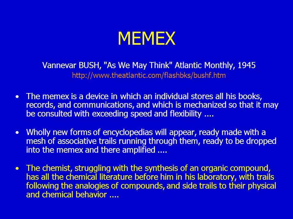 MEMEX Vannevar BUSH,
