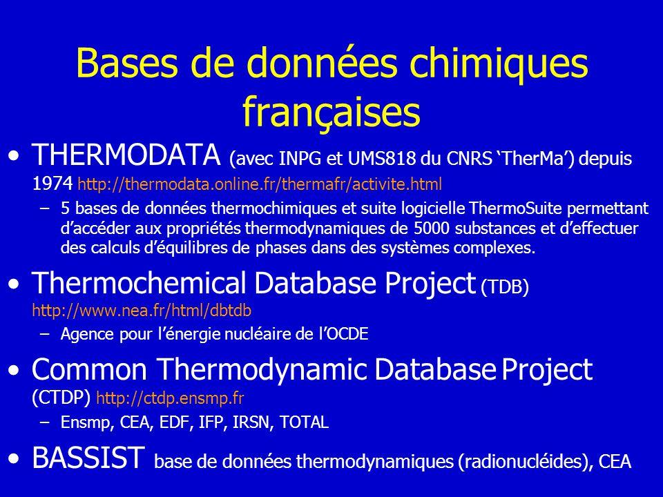 Bases de données chimiques françaises THERMODATA (avec INPG et UMS818 du CNRS TherMa) depuis 1974 http://thermodata.online.fr/thermafr/activite.html –