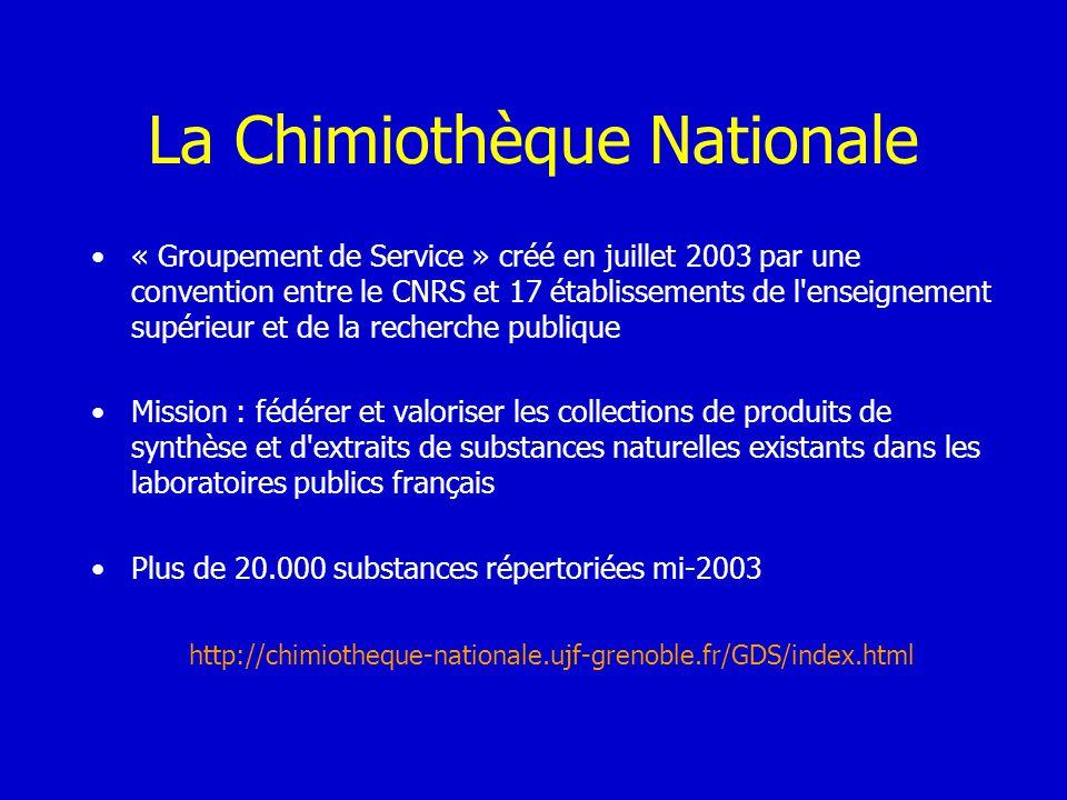 La Chimiothèque Nationale « Groupement de Service » créé en juillet 2003 par une convention entre le CNRS et 17 établissements de l'enseignement supér