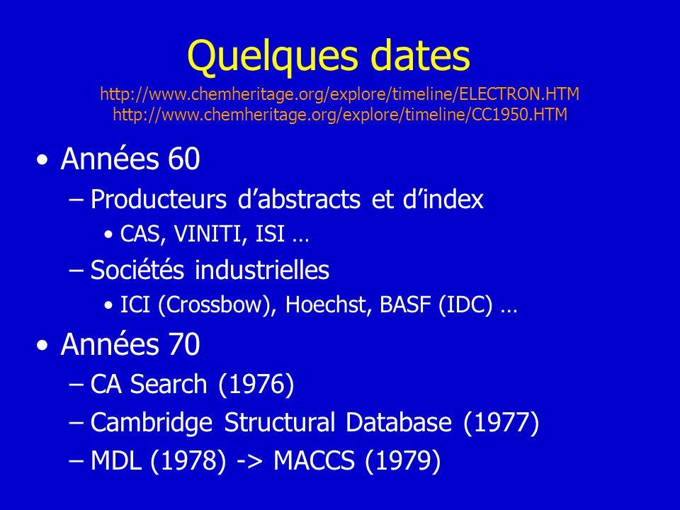 Quelques dates Années 60 –Producteurs dabstracts et dindex CAS, VINITI, ISI … –Sociétés industrielles ICI (Crossbow), Hoechst, BASF (IDC) … Années 70