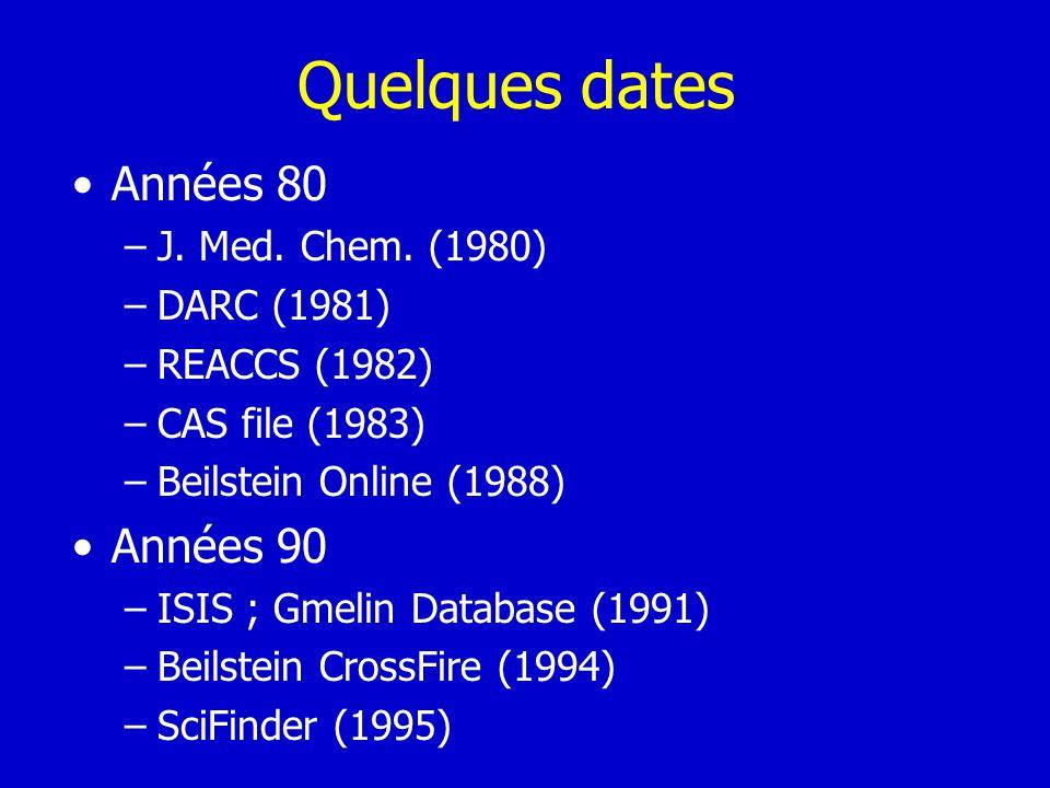 Quelques dates Années 80 –J. Med. Chem. (1980) –DARC (1981) –REACCS (1982) –CAS file (1983) –Beilstein Online (1988) Années 90 –ISIS ; Gmelin Database