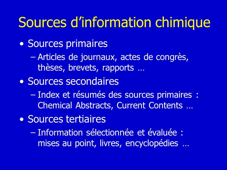 Sources dinformation chimique Sources primaires –Articles de journaux, actes de congrès, thèses, brevets, rapports … Sources secondaires –Index et rés