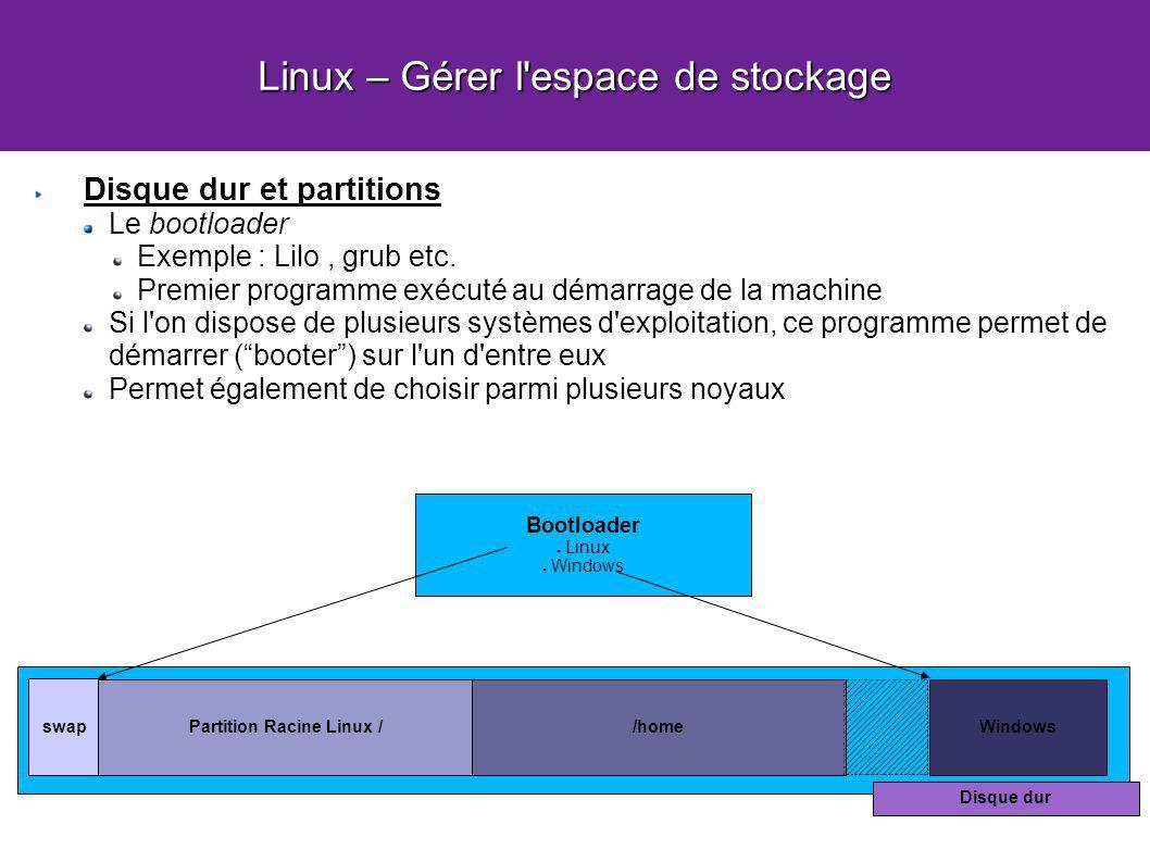 Linux – Gérer l'espace de stockage Disque dur et partitions Le bootloader Exemple : Lilo, grub etc. Premier programme exécuté au démarrage de la machi