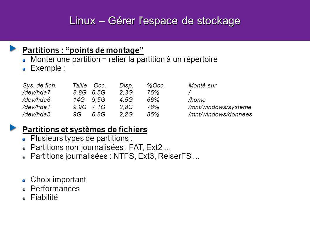 Linux – Gérer l'espace de stockage Partitions : points de montage Monter une partition = relier la partition à un répertoire Exemple : Sys. de fich. T