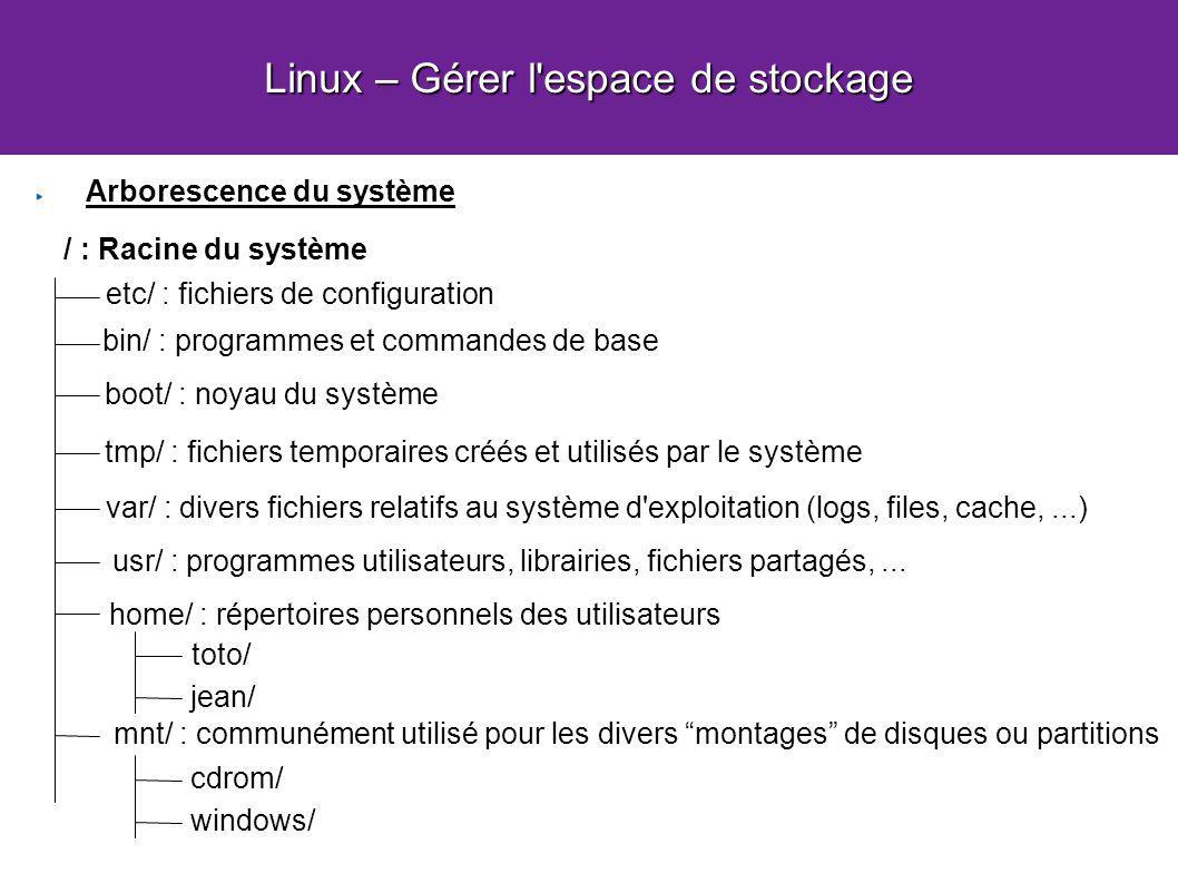Linux – Gérer l espace de stockage Arborescence du système / : Racine du système etc/ : fichiers de configuration bin/ : programmes et commandes de base boot/ : noyau du système tmp/ : fichiers temporaires créés et utilisés par le système var/ : divers fichiers relatifs au système d exploitation (logs, files, cache,...) usr/ : programmes utilisateurs, librairies, fichiers partagés,...