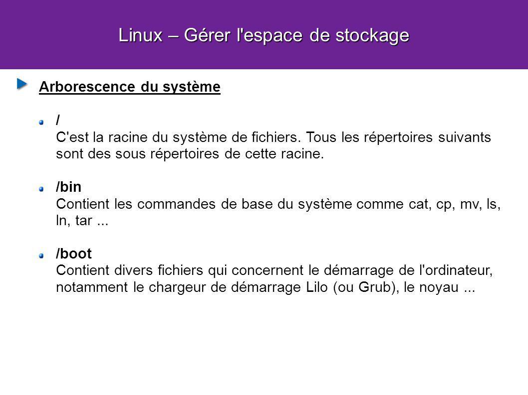 Linux – Gérer l'espace de stockage Arborescence du système / C'est la racine du système de fichiers. Tous les répertoires suivants sont des sous réper