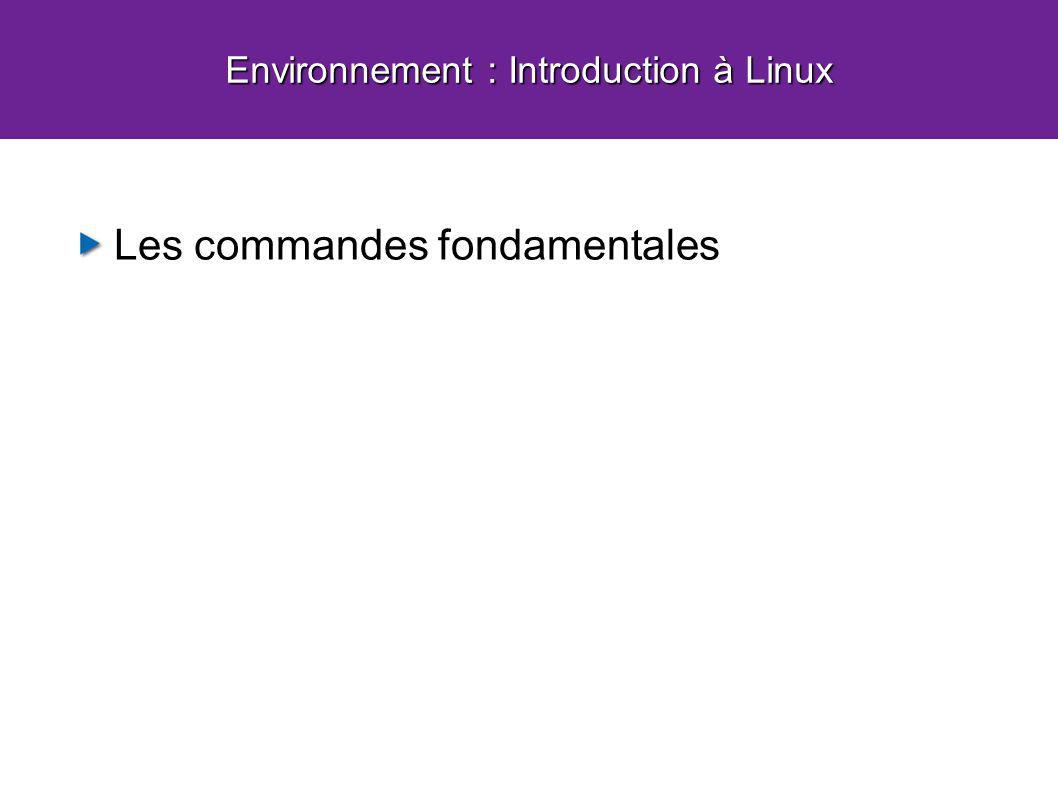 Les commandes fondamentales Environnement : Introduction à Linux
