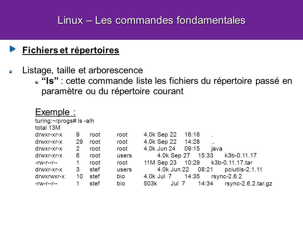 Linux – Les commandes fondamentales Fichiers et répertoires Listage, taille et arborescence ls : cette commande liste les fichiers du répertoire passé en paramètre ou du répertoire courant Exemple : turing:~/progs# ls -alh total 13M drwxr-xr-x 9 rootroot4.0k Sep 22 16:16.