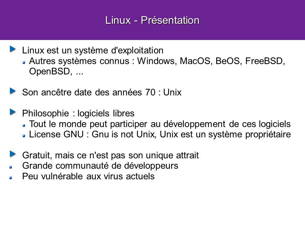 Linux - Présentation Linux est un système d'exploitation Autres systèmes connus : Windows, MacOS, BeOS, FreeBSD, OpenBSD,... Son ancêtre date des anné
