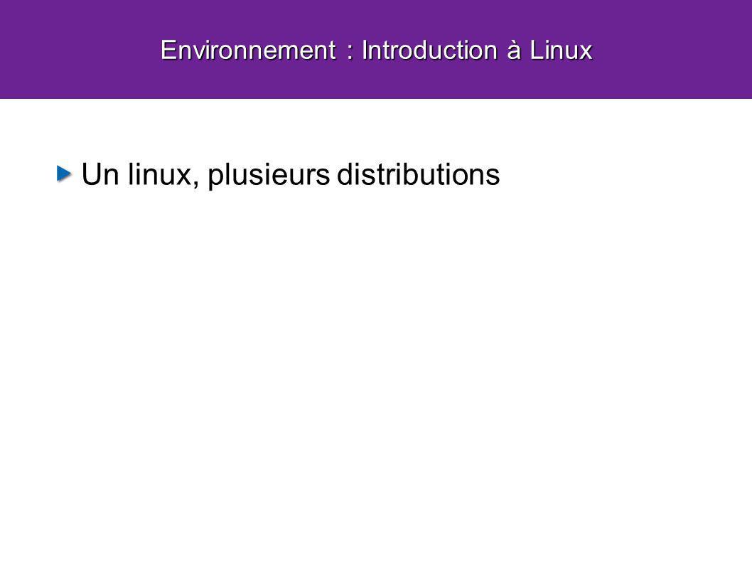 Un linux, plusieurs distributions Environnement : Introduction à Linux