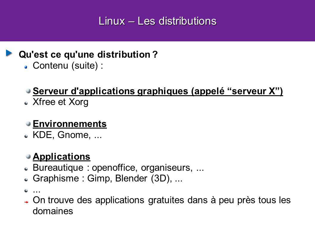 Linux – Les distributions Qu'est ce qu'une distribution ? Contenu (suite) : Serveur d'applications graphiques (appelé serveur X) Xfree et Xorg Environ
