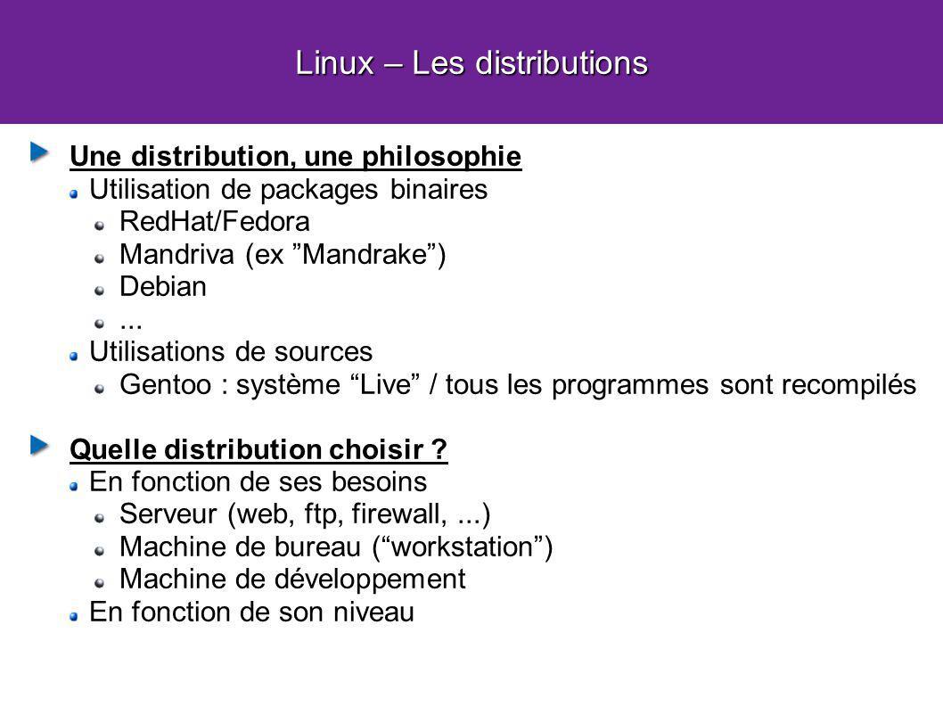 Linux – Les distributions Une distribution, une philosophie Utilisation de packages binaires RedHat/Fedora Mandriva (ex Mandrake) Debian...
