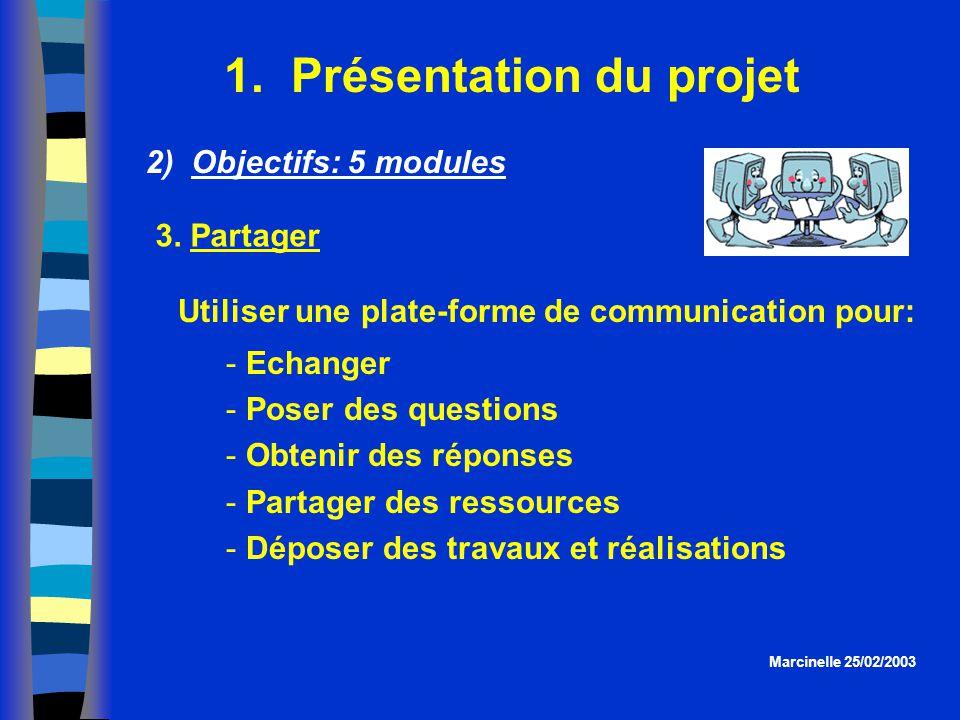 1. Présentation du projet Utiliser une plate-forme de communication pour:  Echanger  Poser des questions  Obtenir des réponses  Partager des resso
