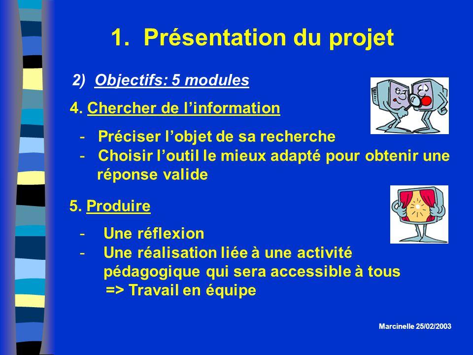 1. Présentation du projet Une réflexion Une réalisation liée à une activité pédagogique qui sera accessible à tous => Travail en équipe Marcinelle 2