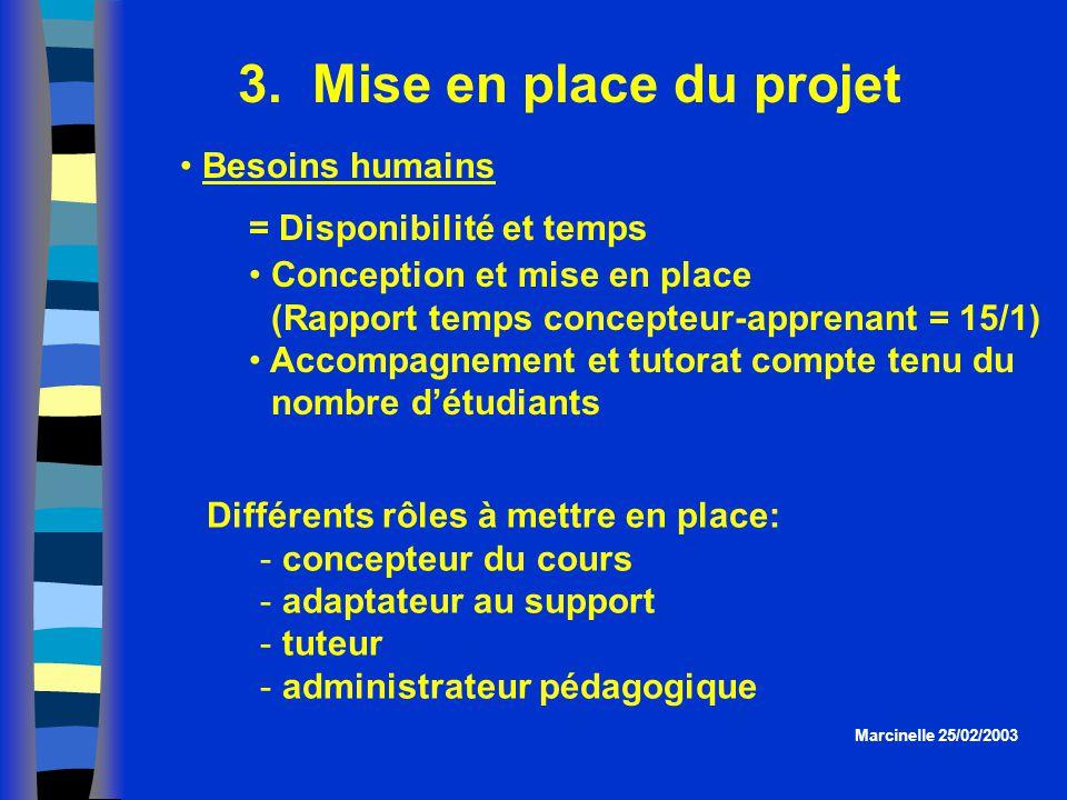 3. Mise en place du projet = Disponibilité et temps Conception et mise en place (Rapport temps concepteur-apprenant = 15/1) Accompagnement et tutorat