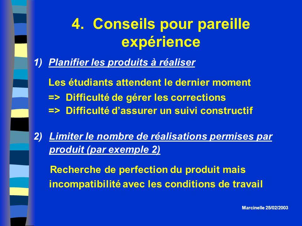4. Conseils pour pareille expérience Marcinelle 25/02/2003 1)Planifier les produits à réaliser Les étudiants attendent le dernier moment => Difficulté