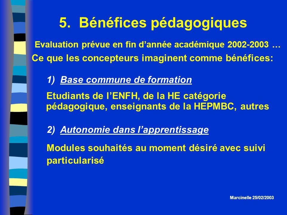 5. Bénéfices pédagogiques Marcinelle 25/02/2003 Evaluation prévue en fin dannée académique 2002-2003 … Ce que les concepteurs imaginent comme bénéfice