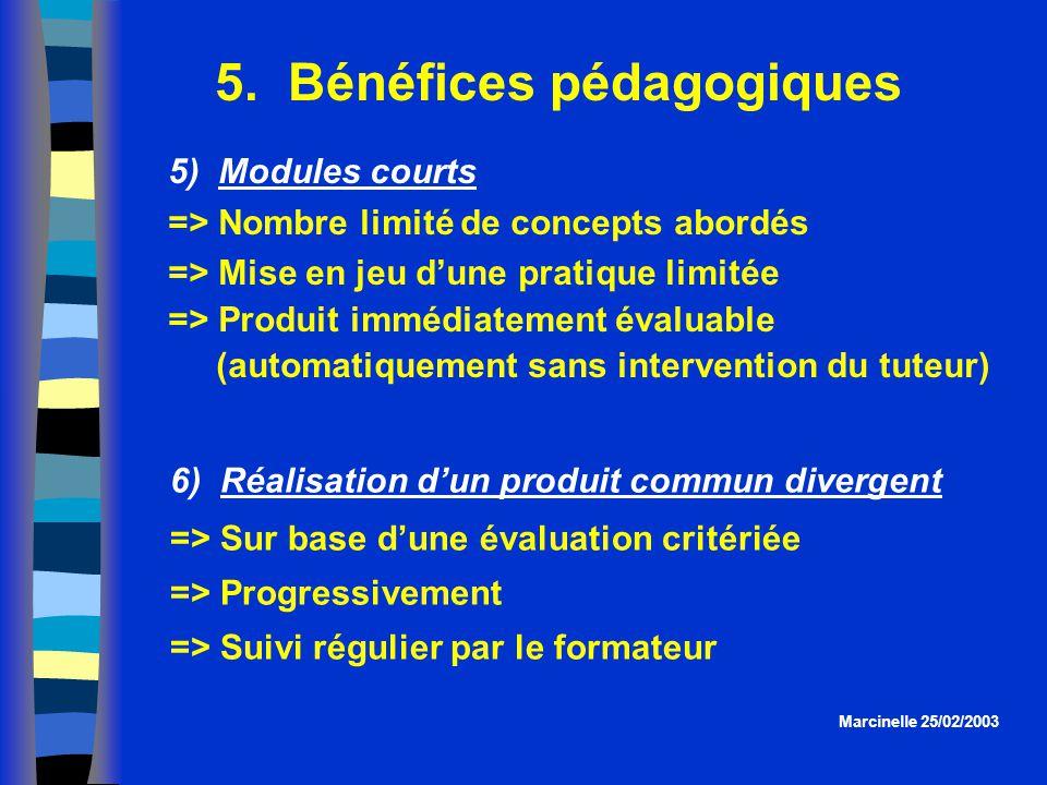 5. Bénéfices pédagogiques Marcinelle 25/02/2003 5) Modules courts => Nombre limité de concepts abordés => Mise en jeu dune pratique limitée => Produit