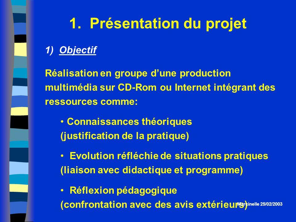 1. Présentation du projet Réalisation en groupe dune production multimédia sur CD-Rom ou Internet intégrant des ressources comme: Connaissances théori