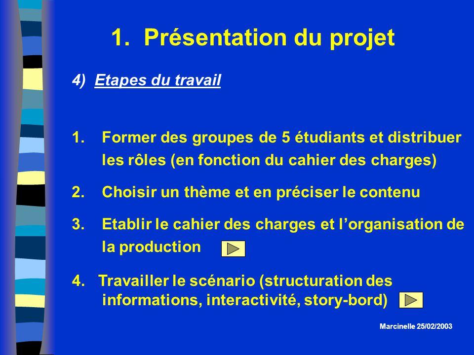 1. Présentation du projet Marcinelle 25/02/2003 4) Etapes du travail 1.Former des groupes de 5 étudiants et distribuer les rôles (en fonction du cahie