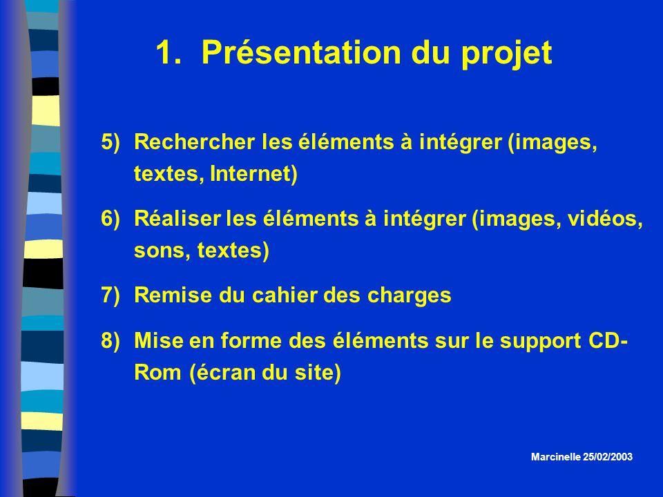 1. Présentation du projet Marcinelle 25/02/2003 5)Rechercher les éléments à intégrer (images, textes, Internet) 6)Réaliser les éléments à intégrer (im
