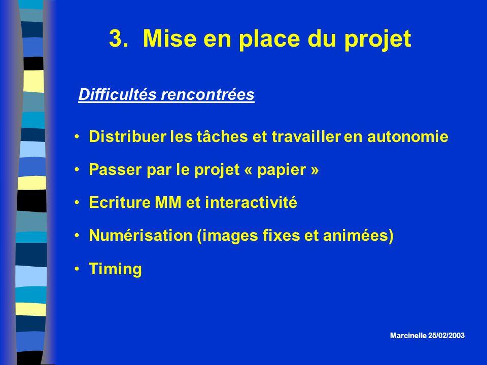 3. Mise en place du projet Distribuer les tâches et travailler en autonomie Passer par le projet « papier » Ecriture MM et interactivité Numérisation