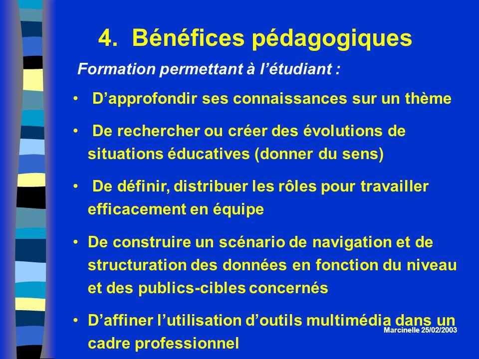 4. Bénéfices pédagogiques Dapprofondir ses connaissances sur un thème De rechercher ou créer des évolutions de situations éducatives (donner du sens)