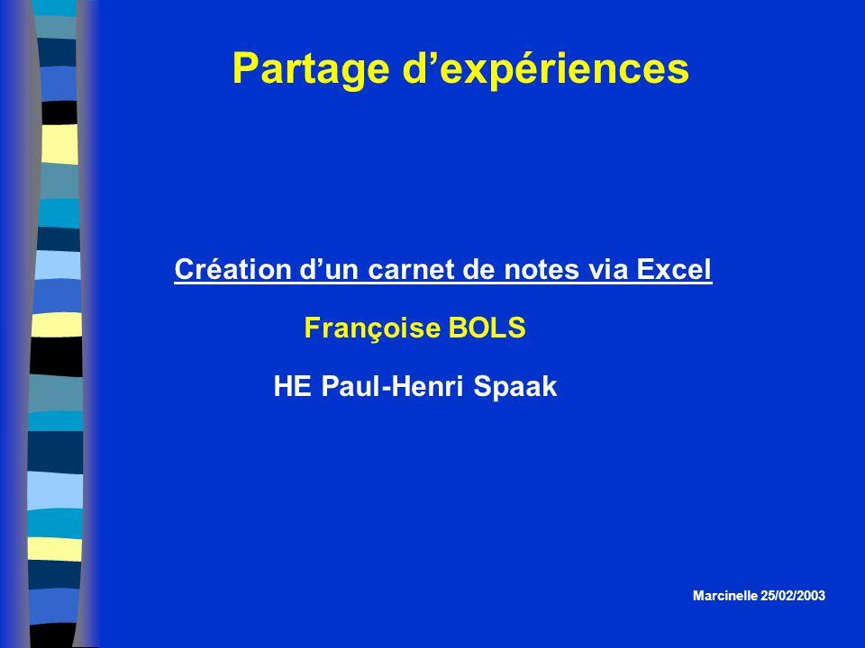 Partage dexpériences Marcinelle 25/02/2003 Création dun carnet de notes via Excel Françoise BOLS HE Paul-Henri Spaak
