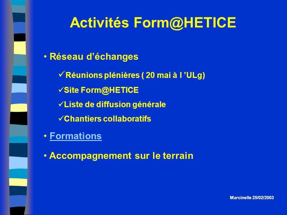 Activités Form@HETICE Réseau déchanges Réunions plénières ( 20 mai à l ULg) Site Form@HETICE Liste de diffusion générale Chantiers collaboratifs Forma