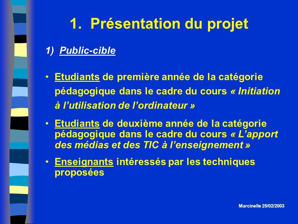 1. Présentation du projet Etudiants de première année de la catégorie pédagogique dans le cadre du cours « Initiation à lutilisation de lordinateur »