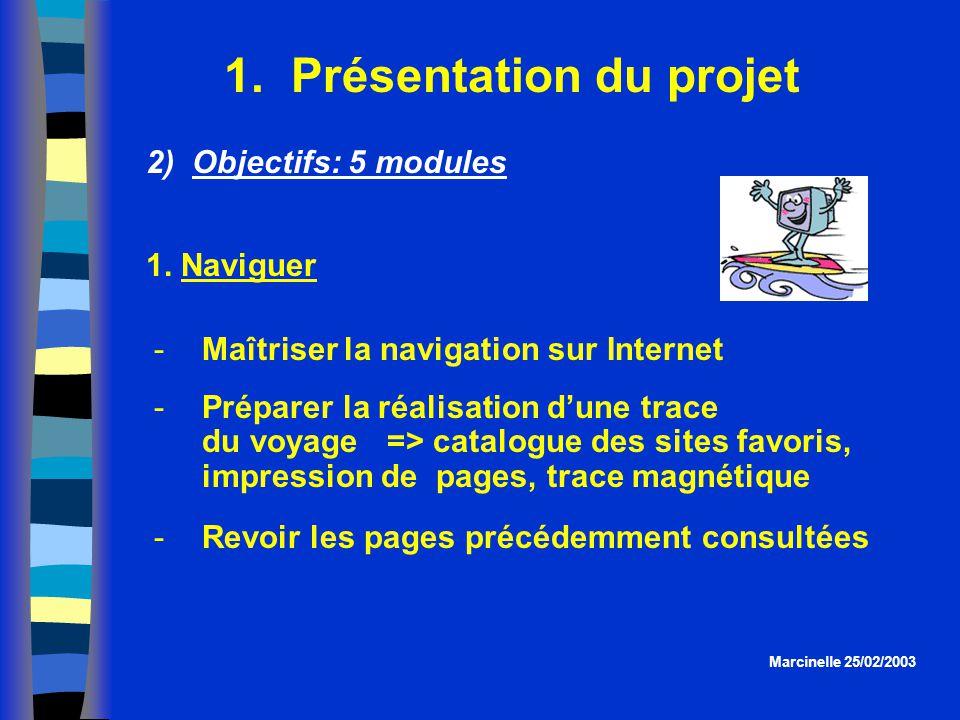 1. Présentation du projet Marcinelle 25/02/2003 2) Objectifs: 5 modules Maîtriser la navigation sur Internet Préparer la réalisation dune trace du v