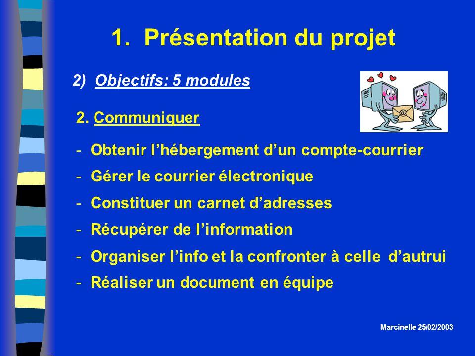 1. Présentation du projet Marcinelle 25/02/2003 2) Objectifs: 5 modules  Obtenir lhébergement dun compte-courrier  Gérer le courrier électronique 