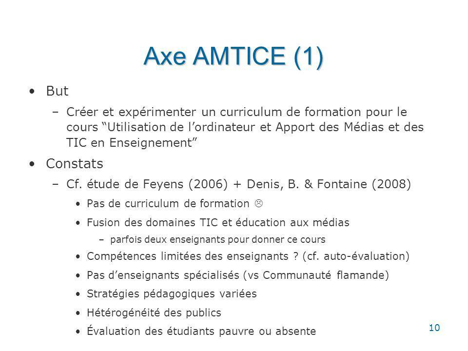 10 Axe AMTICE (1) But –Créer et expérimenter un curriculum de formation pour le cours Utilisation de lordinateur et Apport des Médias et des TIC en Enseignement Constats –Cf.