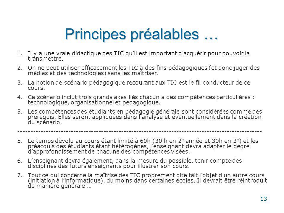 13 Principes préalables … 1.Il y a une vraie didactique des TIC quil est important dacquérir pour pouvoir la transmettre.