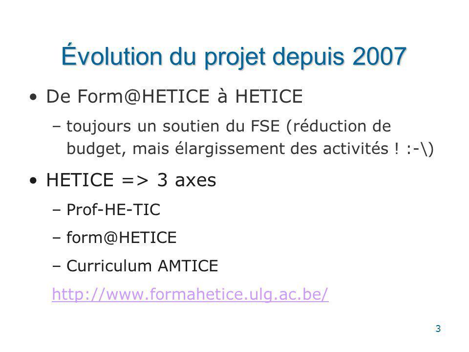 3 Évolution du projet depuis 2007 De Form@HETICE à HETICE –toujours un soutien du FSE (réduction de budget, mais élargissement des activités .