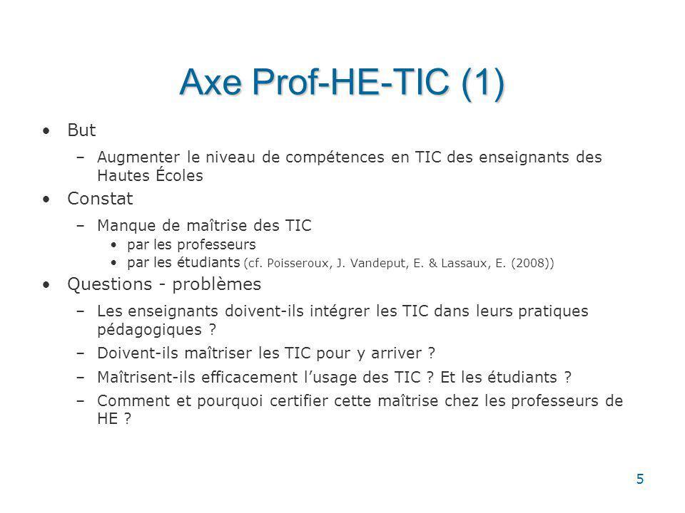 5 Axe Prof-HE-TIC (1) But –Augmenter le niveau de compétences en TIC des enseignants des Hautes Écoles Constat –Manque de maîtrise des TIC par les professeurs par les étudiants (cf.