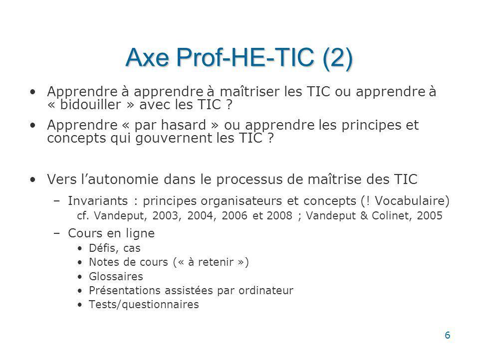 6 Axe Prof-HE-TIC (2) Apprendre à apprendre à maîtriser les TIC ou apprendre à « bidouiller » avec les TIC .