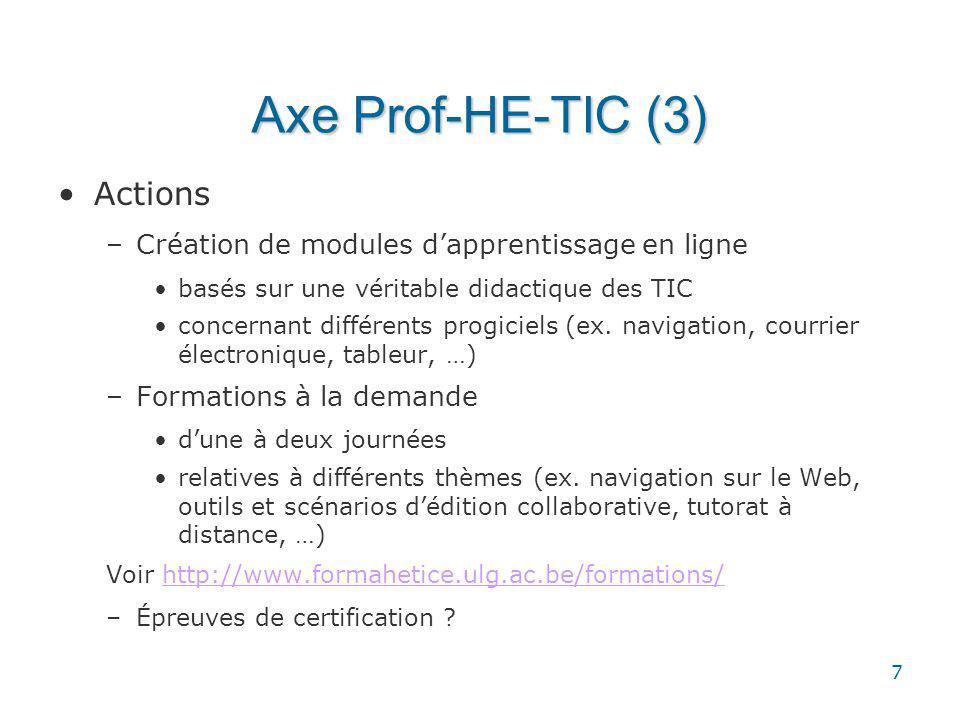 7 Axe Prof-HE-TIC (3) Actions –Création de modules dapprentissage en ligne basés sur une véritable didactique des TIC concernant différents progiciels (ex.