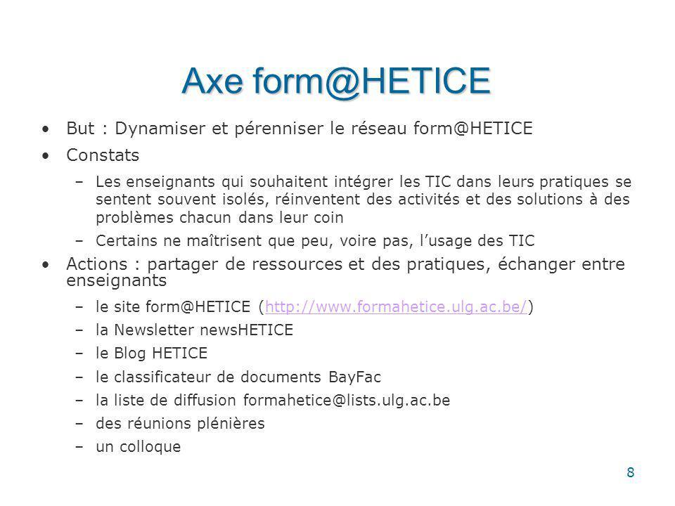 8 Axe form@HETICE But : Dynamiser et pérenniser le réseau form@HETICE Constats –Les enseignants qui souhaitent intégrer les TIC dans leurs pratiques se sentent souvent isolés, réinventent des activités et des solutions à des problèmes chacun dans leur coin –Certains ne maîtrisent que peu, voire pas, lusage des TIC Actions : partager de ressources et des pratiques, échanger entre enseignants –le site form@HETICE (http://www.formahetice.ulg.ac.be/)http://www.formahetice.ulg.ac.be/ –la Newsletter newsHETICE –le Blog HETICE –le classificateur de documents BayFac –la liste de diffusion formahetice@lists.ulg.ac.be –des réunions plénières –un colloque