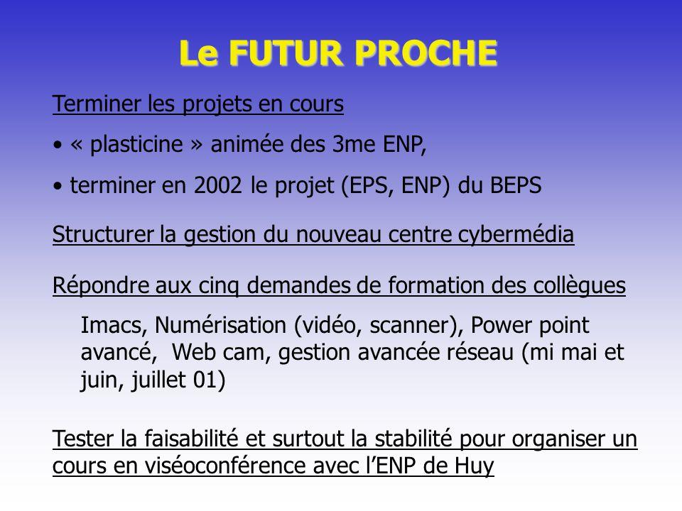 Le FUTUR PROCHE Terminer les projets en cours « plasticine » animée des 3me ENP, terminer en 2002 le projet (EPS, ENP) du BEPS Répondre aux cinq deman