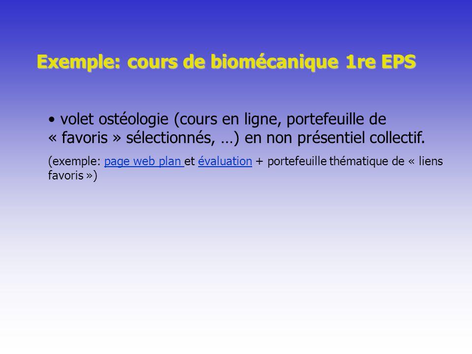 Exemple: cours de biomécanique 1re EPS volet ostéologie (cours en ligne, portefeuille de « favoris » sélectionnés, …) en non présentiel collectif. (ex