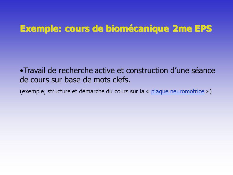 Travail de recherche active et construction dune séance de cours sur base de mots clefs. (exemple; structure et démarche du cours sur la « plaque neur