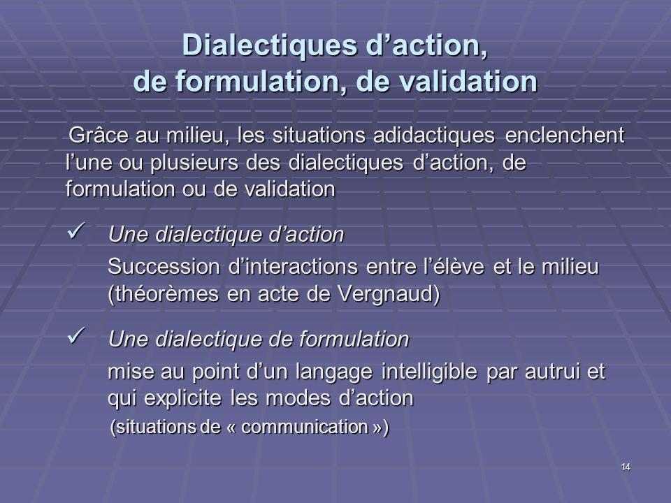 14 Dialectiques daction, de formulation, de validation Grâce au milieu, les situations adidactiques enclenchent lune ou plusieurs des dialectiques dac