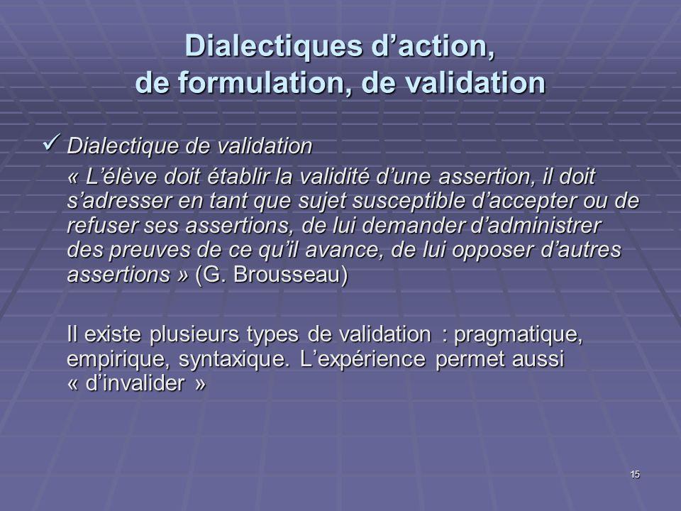 15 Dialectiques daction, de formulation, de validation Dialectique de validation Dialectique de validation « Lélève doit établir la validité dune asse