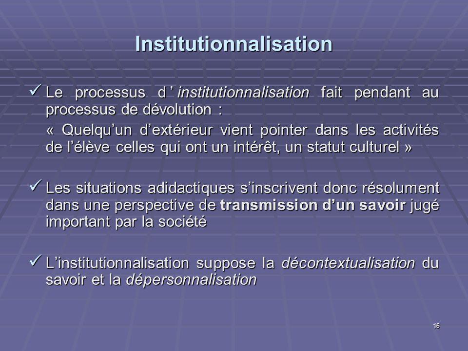16 Institutionnalisation Le processus dinstitutionnalisation fait pendant au processus de dévolution : Le processus dinstitutionnalisation fait pendan