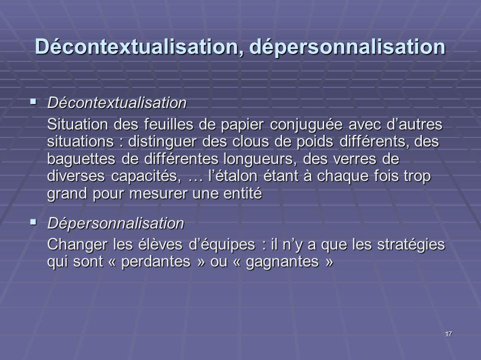 17 Décontextualisation, dépersonnalisation Décontextualisation Décontextualisation Situation des feuilles de papier conjuguée avec dautres situations