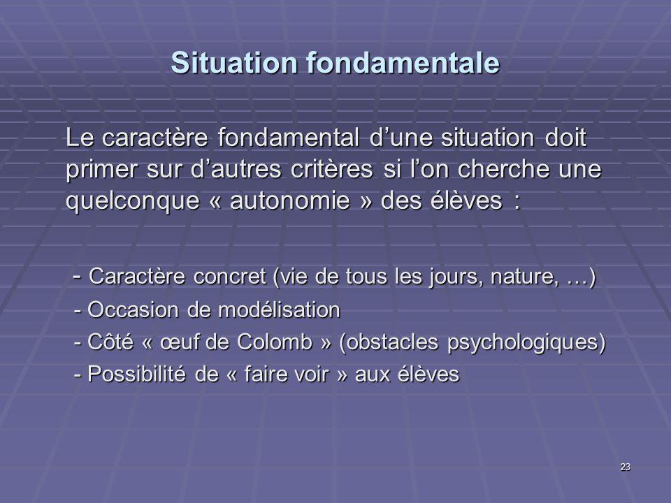 23 Situation fondamentale Le caractère fondamental dune situation doit primer sur dautres critères si lon cherche une quelconque « autonomie » des élè