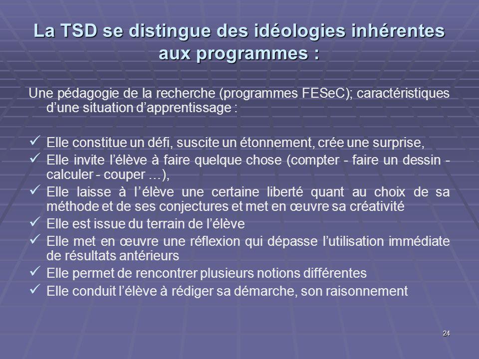 24 La TSD se distingue des idéologies inhérentes aux programmes : Une pédagogie de la recherche (programmes FESeC); caractéristiques dune situation da